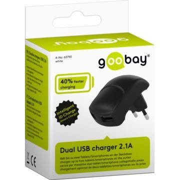 Ładowarka sieciowa 2xi USB 2.0 2.1A Goobay