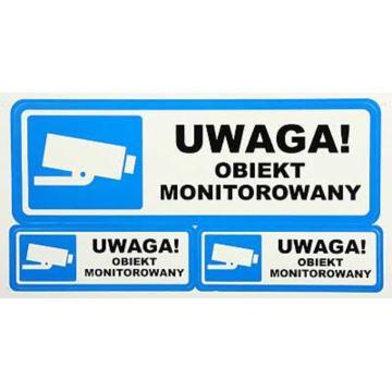 Naklejka Pod Szybę 'UWAGA! OBIEKT MONITOROWANY'